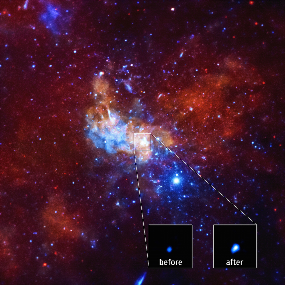 Astronomers have detected the largest X-ray flare ever from the supermassive black hole at the center of the Milky Way, known as <a href=